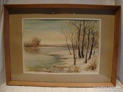 Szabados akvarell festmény téli táj folyópart 53x72 cm