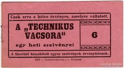 Technikus Vacsora utalvány jegyfüzet