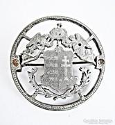 Ezüst angyalos magyar címeres érme, kitűző
