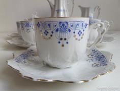 Gyönyörű angol, kék-arany szecessziós teáskészlet