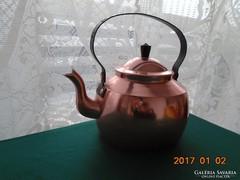 Antik norvég vörös réz teáskanna-kovácsolt vas fogóval