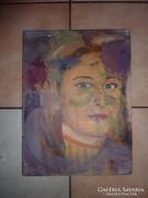 Deák jelzéssel: Színes női portré, olaj-vászon