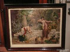 Nagyon szép antik nyomat, szecessziós keretben 1906