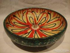 Jelzett retro iparművész kerámia virágtartó tál
