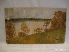 Csáki olaj-karton tájkép festmény
