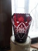 18 cm magas, bíbor pácolt , csiszolt ,üveg váza