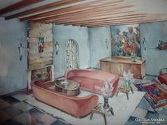 Különleges szobabelső, akvarell jelzés nélkül