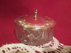 Üveg cukortartó bonbonier fém tetővel   1701/7