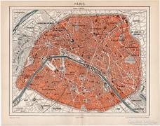 Párizs térkép 1898, Pallas, antik, eredeti
