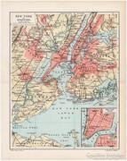 New York és környéke térkép 1894, Pallas, antik, eredeti