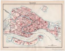 Velence (Olaszország) térkép 1898, antik, eredeti, Pallas