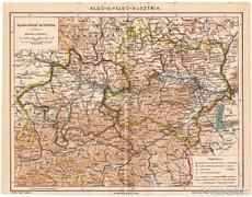 Alsó - és Felső - Ausztria térkép 1894, eredeti, antik