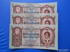 3 darab sorszámkövető 50 pengő 1932