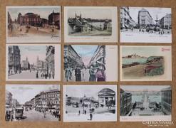 Budapesti képeslapok, 1890-1900 körül, 9x10 db.