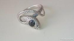 Ezüst gyűrű különleges, egyedi kígyófejes...