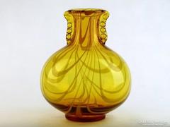 0K668 Fújtüveg BOHEMIA művészi üveg váza 25 cm