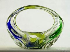 0K674 Fújtüveg BOHEMIA művészi üveg dísztárgy 16cm