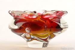 0K677 Fújtüveg BOHEMIA művészi üveg hamutál 16 cm