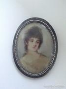 Antik ezüst bross festett selyemképpel