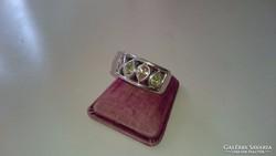 Ezüst gyűrű, többszínű citrinköves, dekoratív.