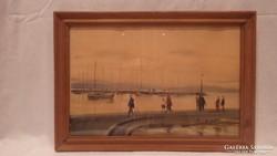 Dobroszláv József : Balatoni kikötő akvarell festmény