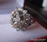 Mint egy nagy gyémánt! Zöld ametiszt köves ezüst gyűrű