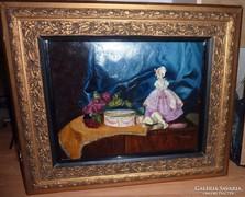 Török Olga: Csendélet figurákkal és virággal, régi olaj-fa
