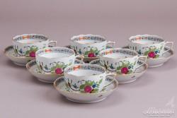 6db Herendi színes indiai kosár mintás teáscsésze aljjal