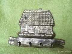 Ház alakú réz fali kulcstartó