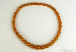 0K522 Régi borostyánsárga női nyaklánc gyöngysor