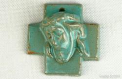 0K535 Régi art deco Krisztus kerámia falidísz