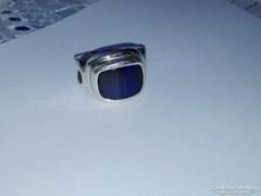EGYEDI Antik Ezüst Gyűrű Kék Topázzal
