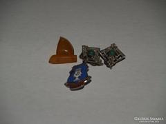 Régi Tűzzománc kitűző , borostyán kitűző , fülbevalók .