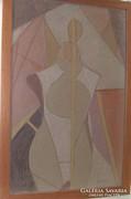 Bortnyik szignós Absztrakt kép új keretben ÁRESÉS