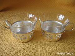 2 alpakka, ezüstözött betétben üveg teás pohár