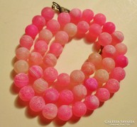 Szép régi rózsaszín achát nyaklánc