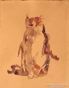 Ülő cica portré
