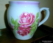 Zsolnay hatalmas porcelán rózsás bögre