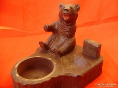 Régi faragott medvés tintatartó,íróasztali dísz