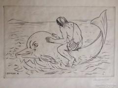 Borsos Miklós Poéta delfinháton grafika