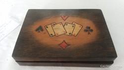 Antik fa kártya doboz