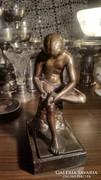 Ritka szép,patinás,részletgazdag,antik szecessziós bronz sz