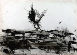 Vinkler László : Tájkép madarakkal 1967