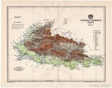 Pozsega vármegye térkép 1897, antik, eredeti