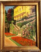 Conrád Gyula - Kastély bejárat Eredeti festménye!! 1911 ből!
