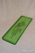 Szép zöld régi üveg tálca ( DBZ0066 )