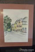 Akvarell Festmény Bécs Utcakép