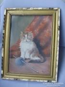 Régi festmény,cica gombolyaggal,macska Vidovenyecz Pál 1953.