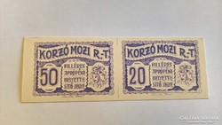 Szeged Korzó Mozi Rt.20+50 Fillér ívtöredék  karton!