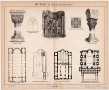 Építészet X. (bizánci), Pallas nyomat 1896, eredeti, antik